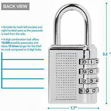 8cm Large 4 Dial Number Combination Padlock Lock Gym Lockers Sheds Tool UK
