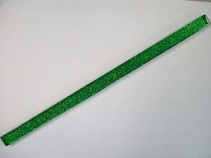 PACKS OF 18 GLASS BORDER TILE STRIPS - GLITTER GREEN FINISH