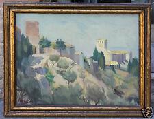 Dipinto Basilica S. Francesco Assisi olio su tavoletta - Mario M. - 1948