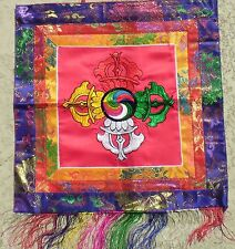 Red Double Dorje Buddha Dharma Banner Wall-Hanging Colorful Silk Embroidery