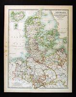 1906 Johnston Royal Atlas Map Denmark Copenhagen Iceland Germany Hanover Jutland