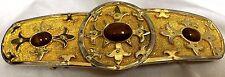 Accessocraft NYC Belt Buckle 2 Pc Gold Tone Amber Rhinestones Flur de Liz Vtg