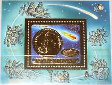 GUINEA 1986 Block 220 A GOLD Foil Halleyscher Komet Halleys Comet Space Weltraum