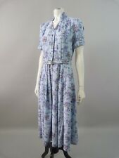 Vintage original 1940s floral print tea dress with belt -  UK 8 / 10