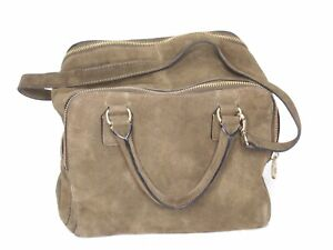 Inditex Tan Suede Double Zip Carry On Bag