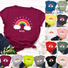 Womens Summer Blouse Rainbow Tee Shirt Loose Ladies Pullover Basic Casual Tops