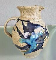 1/2 Gallon Studio Art Pottery Pitcher Signed Sparky Cobalt Blue Glaze Stoneware