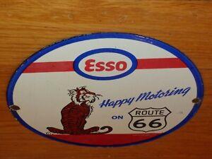 """VINTAGE 1964 ESSO HAPPY MOTORING ROUTE 66 TIGER 12"""" PORCELAIN METAL GAS OIL SIGN"""
