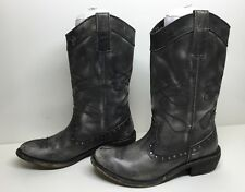VTG WOMENS DIBA COWBOY LEATHER GRAY BOOTS SIZE 37 M