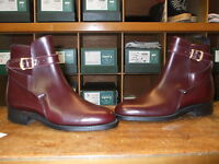 UNISEX ALFRED SARGENT BURGUNDY STRAPPED  BUCKLE JODPHUR  BOOTS SIZE   2.5+ 3