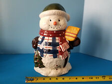 Snowman Scraf Hat Broom Christmas Tree Plad Jacket Ceramic Cookie Jar Hallmark
