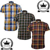 Relco Mens Check Short Sleeve Shirt Button Down Collar Mod Tartan Yellow Green