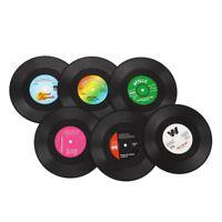 Brand 6Pcs Vinyl Coaster Groovy Record Cup Drinks Holder Mat Tableware Placem C6