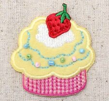 Iron On Embroidered Patch Applique Pink/Yellow Cupcake Strawberry Beads