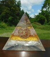 """4 PC EMF Protection BUNDLE 6/"""" Jumbo Size 15omm Shungite Pyramid 3 Amethyst Stone"""