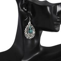 Boho Tibetan 925 Silver Turquoise Dangle Drop Hook Earrings Women Jewelry Gift