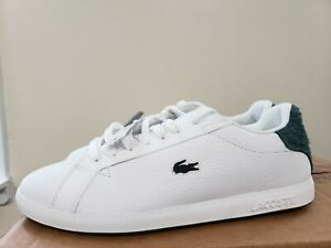Lacoste Graduate 319 Sneakers White Leather and Green Suede Shoes Womens 8.5