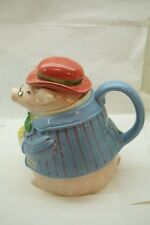 FITZ AND FLOYD TEAPOT PIG DRESSED AS GENTLEMAN BACON EGGS 1.5 QT FORMAL PIGGY