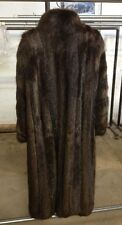 Women's Brown Fur Coat & Hat  - Mark Lloyds Furs Long Hair Beaver. Full length