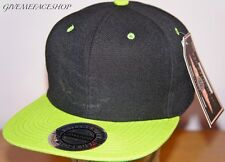 Snapback cap, flat peak black with lime fitted baseball hip hop hat, brim street