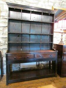 Antique small Welsh oak rustic DRESSER pot board rack back 142x195cm farmhouse