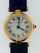 """Rare CARTIER Mini """"Vendome Classique""""~Solid 18K Gold~Round Case Strap Watch~WOW!"""