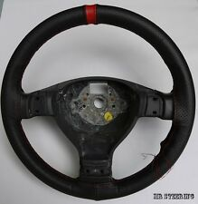 FOR VW GOLF MK5 03-09 BLACK PERFORATED LEATHER + RED STRAP STEERING WHEEL COVER