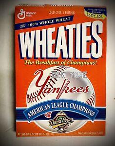 NEW YORK YANKEES~Original 1996 WHEATIES CEREAL BOX~American League Champions~VG