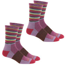 Darn Tough Women's Merino Wool Micro Crew Stripes Sock (Plum - S) - 2 Pack