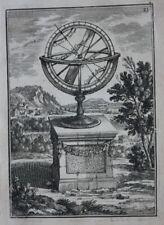 Original Antigua de impresión con esfera, Trópicos, postes, A.M. Mallet, 1683