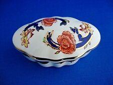 Mason's Blue Mandalay Oval Lidded Trinket 3 1/4 inches overall