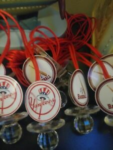 12 New York Yankees Baseball Baby Shower Pacifier Necklaces Favors