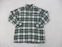 LL Bean Button Up Shirt Adult Large Green Long Sleeve Heavyweight Lined Mens