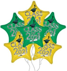 Set of 6 Green & Yellow Star Graduation Class of 2021 Party balloons decorations