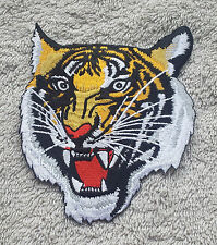 TIGER HEAD PATCH Embroidered Badge Iron Sew 11.5cm x 10cm Biker Jacket Bag NEW