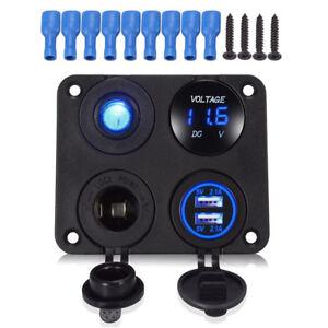 12V 24V Car Electrical Combo Panel Voltmeter Gauge USB Switch Charger Adapter