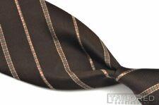"BURBERRY LONDON Brown Beige Novacheck Striped 100% Silk Mens Luxury Tie - 3.75"""