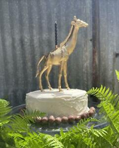 """Birthday Party animal candle cake topper """"giraffe"""" gold tone"""