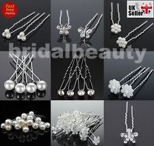 12Pcs Lovely Wedding Crystal Flower Pearl Hair Twists Clips Pins Spirals Bridal