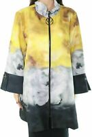 IC by Connie Women's Jacket Yellow Size Large L Colorblock Full Zip $198 #473