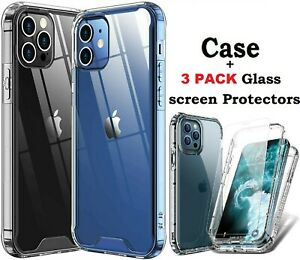 For iPhone 12 11/Pro/Max/XS/XR/X/8/7 Shockproof TPU Phone Cover+Tempered Glass