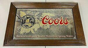 "Coors Beer Mirror Bar Sign Waterfall Barley Large 26""X16"" Vintage 1980 RARE #2"