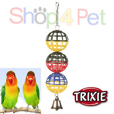BALL BIRD TOY TRIXIE HANGING 3 LATTICE BALLS + BELL FOR CAGE PET VARIOUS COLOURS