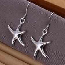 Women's 925 Silver Earrings Starfish Ear Drop Jewelry Christmas Gift