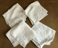 Set 6 Vintage cut out embroidered floral napkins scallped edge fabric white