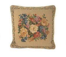 DaDa Bedding Victorian Beige Spring Floral Square Accent Pillow Cushion Cover
