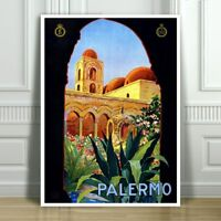 """VINTAGE TRAVEL CANVAS ART PRINT POSTER - Palermo Sicily Italy Arch - 18x12"""""""