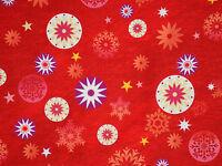 CHRISTMAS LOVE & PEACE STARS SNOWFLAKES QUILTING TREASURES COTTON FABRIC YARDAGE