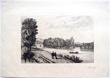 Eau-forte, Paysage fluvial, Charles-Joseph Launay