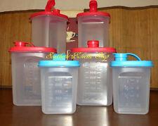 6pc Tupperware Slim Line Pitcher Complete Collection 2qt 1qt 12oz Flip Top Seal